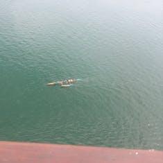 Canoes below us