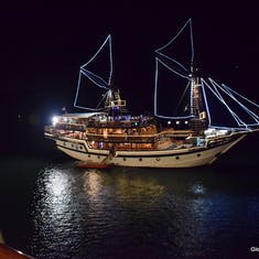 Benoa, Bali, Indonesia - This is a photo of a pirate ship (for tourists) as it passed us while we were docked overnight.