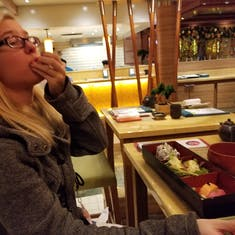 Getting her sushi on