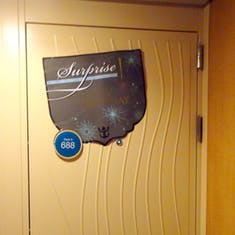 Port Canaveral, Florida - Surprise decoration on Cabin 9688in Door