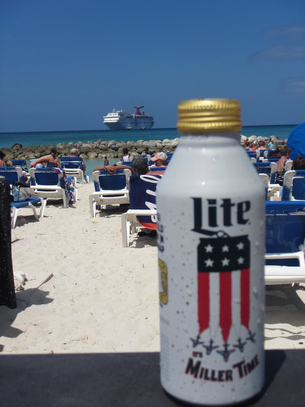 Memorial Day @ Princess Cays.  Remember all Service Men & Women.  Without their sacrifice, there is no Miller Time in tropical paradise! - Carnival Ecstasy
