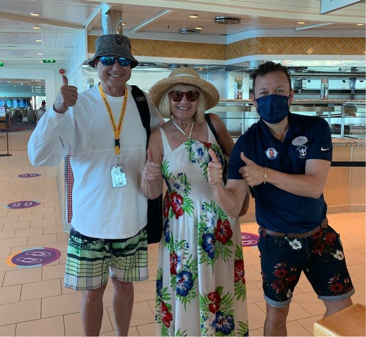 "Having fun with our cruise director Hugo....""my beautiful people"" - Adventure of the Seas"