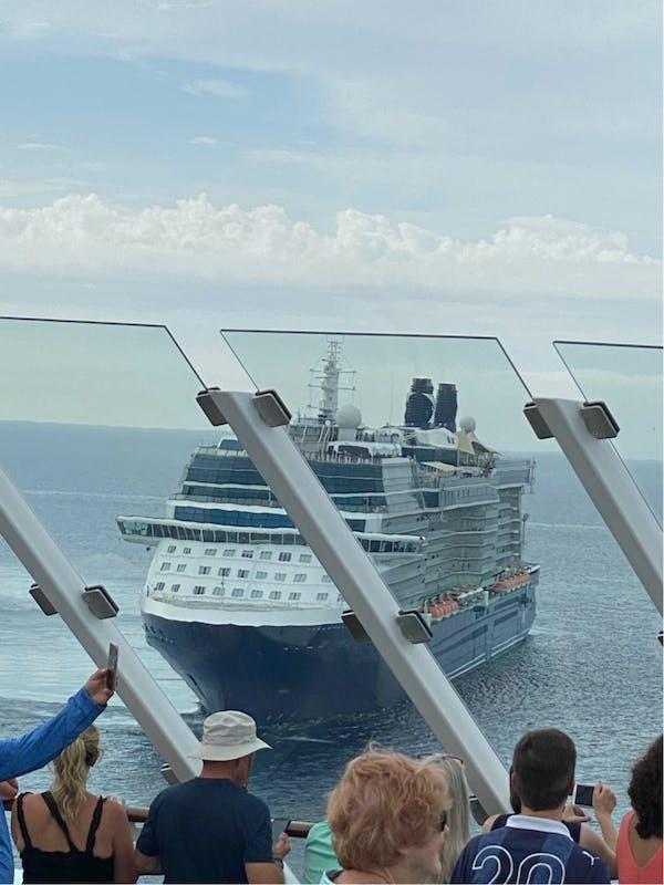 Celebrity Equinox celebrating final leg of US return to sailing w/ cannons, horns, & escort home.  - Celebrity Edge