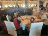 Having dinner on our first night at sea