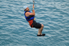 Zip lining into the ocean