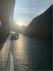 Sunrise as we cruised into Milford Sound aboard Ovation of the Seas