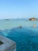 Infinity pool in hotel by pier