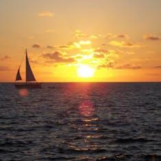 Sunset in Bermuda from Snorkel Park Beach, located in the Dockyard near the ship
