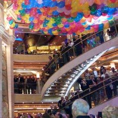 We loved the balloon drop in the atrium aboard Ruby Princess
