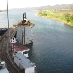 Last lock completed, just entering Gatun Lake, Spare gates on left