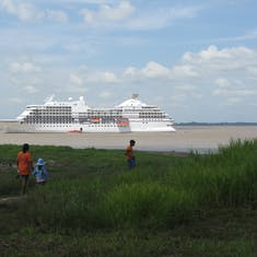 Good ship Navigator awaiting our return, at anchor in Amazon