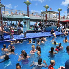 crowded pool area