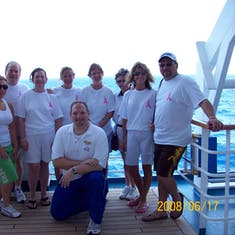 Our walk around the deck for breast cancer with Big Sexy the cruise director.