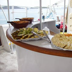 Snacks on the way back from the champagne catamaran ride to St. John.