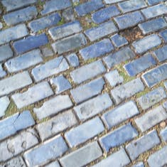 San Juan, Puerto Rico - Blue cobblestone streets. I love the sound the cars make when they drive over it