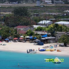 Grand Turk Island - Jack's Shack as viewed from the helicopter.