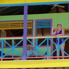 me on the 2nd level of our villa on Half Moon Cay.