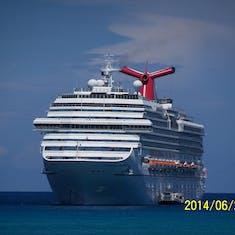 Half Moon Cay, Bahamas (Private Island) - Our anchored ship at Half Moon Cay.