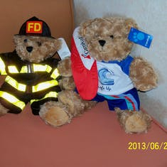 """Our """"build a bear"""" bears we did for our grandsons."""