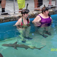 Charlotte Amalie, St. Thomas - My sister and I swimming with sharks at Coral World