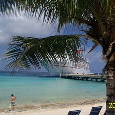 Grand Turk Island - Our ship through the trees in Grand Turk.