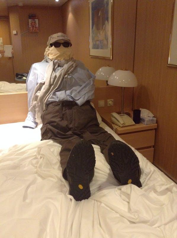 When our attendant left us a towel wearing sunglasses we left him this! - Celebrity Millennium