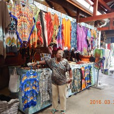 Straw market in St. Lucia. I bought a few things from her.