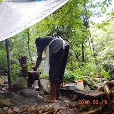 Dominica, rain forest hike to Sari Sari Falls. Our lunch.
