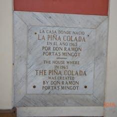 Barrachina, birthplace of the pina colada.
