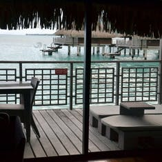 Moorea, French Polynesia - View of outside patio of our bungalow