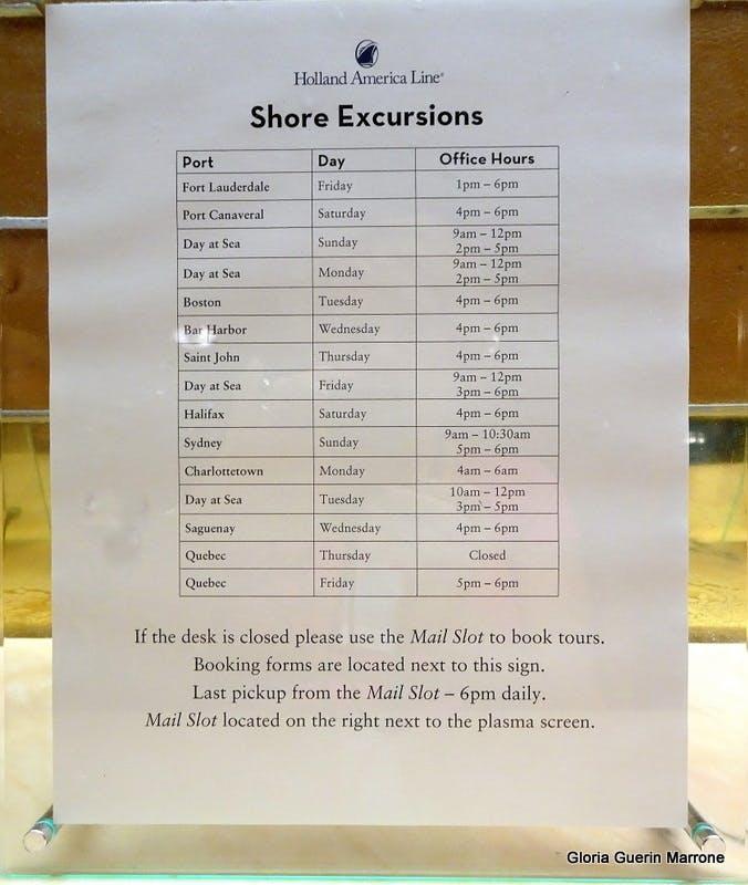 Shore Excursions list - Veendam
