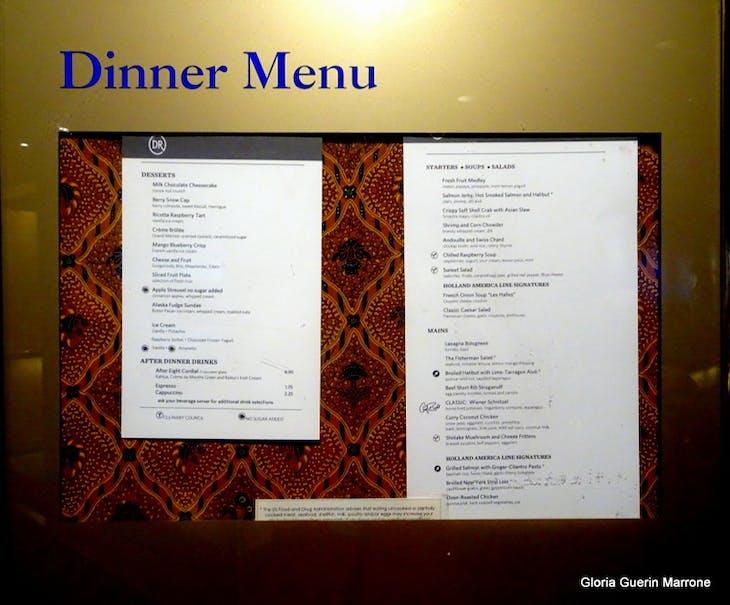 Dinner menu Posted - Veendam