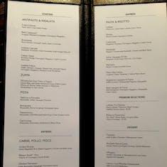 La Cucina menu on the Norwegian Jewel (May 2017)