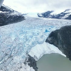 A glacier view from a seaplane outside of Juneau