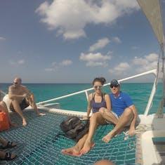 "Oranjestad, Aruba - The catamaran ""trampoline"" net area at the front"