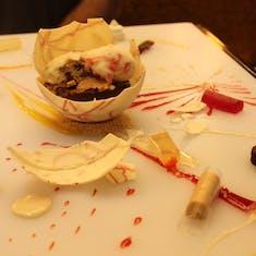 Chef's artist dessert in the steakhouse