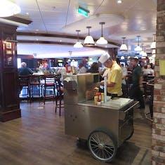Hotdog cart outside of O'Sheehans