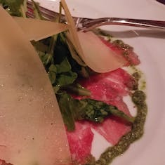 Carpaccio with Pesto and shaved Parmesan