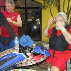 Santa Preparing for Snorkeling