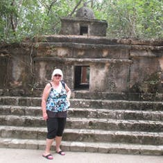 Cozumel, Mexico - Mrs. Claus beside Mayan replica