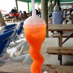 frozen drink, Miami Vice in a souvenir cup...yummy