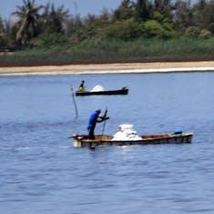 Dakar, Senegal - Harvesting salt from the lake bottom