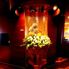 One of 300 floral arrangement around the ship