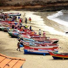 Praia, Santiago, Cape Verde - Fishing boats in the bay & beach in Tarrafal