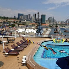 Looking out onto Panama City from the aft pool on deck 8