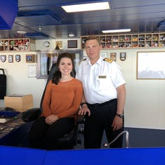 Sitting in Captain Gustafsson's chair in the bridge!