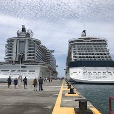 Philipsburg, St. Maarten - MSC Seaside docked next to Celebrity Equinox