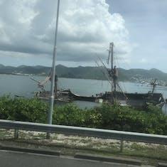 Philipsburg, St. Maarten - Half-sunken replica of a pirate ship from Pirates of the Caribbean