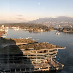 The North Shore and Stanley Park from the Pan Pacific Club Lounge.