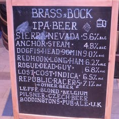 The IPA list at the Brass and Bock